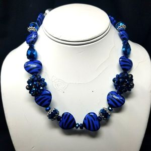 BLUE HEARTS - METAL - BLUE GLASS BEADS NECKLACE
